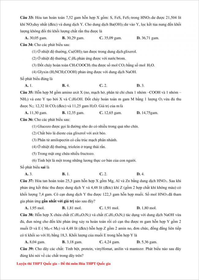 đề bài câu 33 đến 39 trang 4 đề thi hóa thpt kim liên