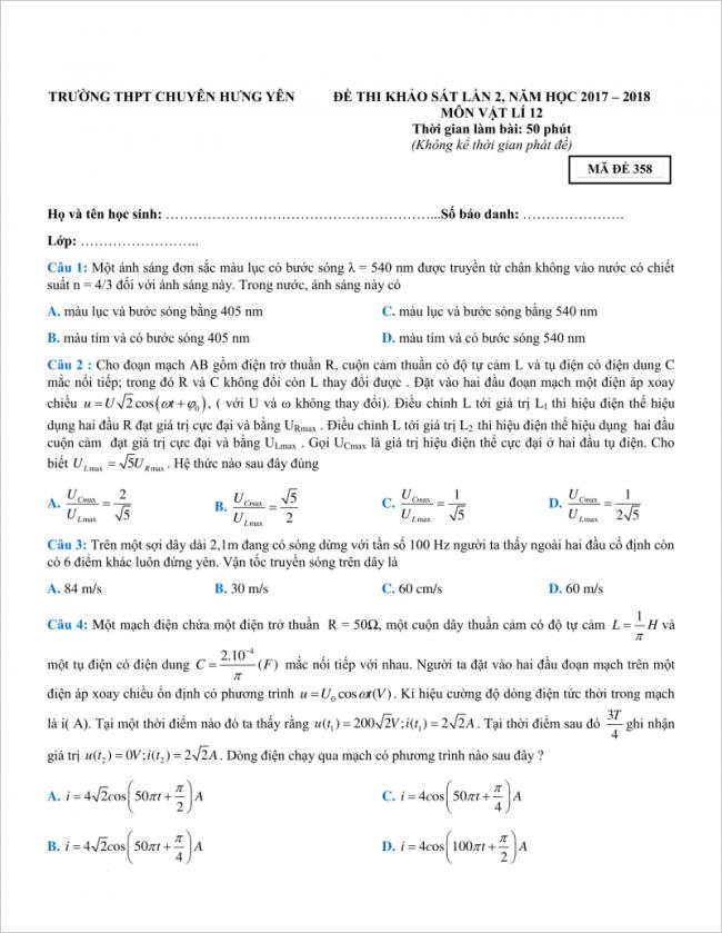 câu 1 đến 4 đề thi thử vật lí thpt chuyên hưng yên