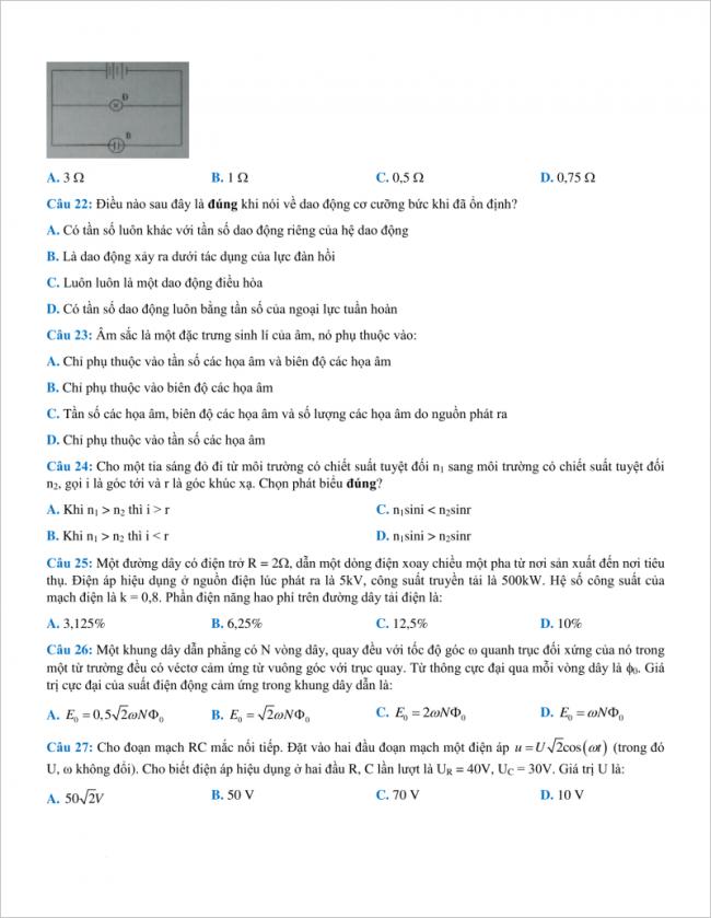 câu 22 đến 27 đề thi thử vật lí thpt chuyên hưng yên