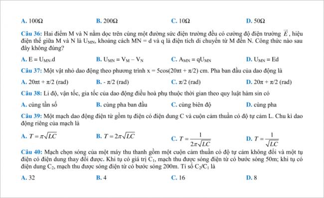 câu từ 36 đến 40 đề thi thử vật lí thpt chuyên hưng yên