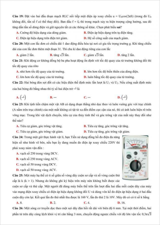 câu 19 đến 26 trang 3 đề lý thi thử thpt chuyên đh vinh