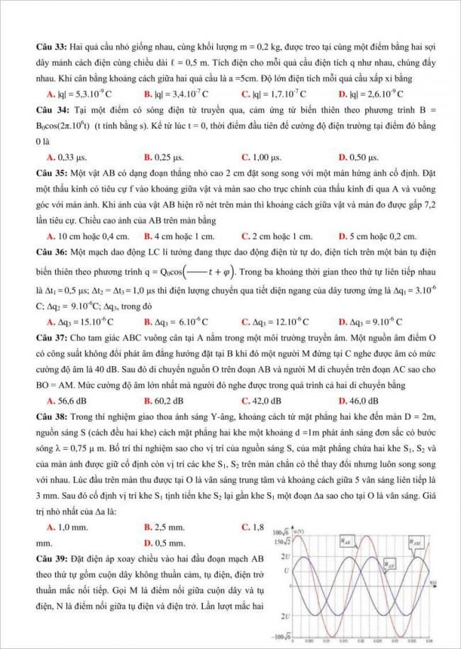 câu 33 đến 39 trang 5 đề lý thi thử thpt chuyên đh vinh