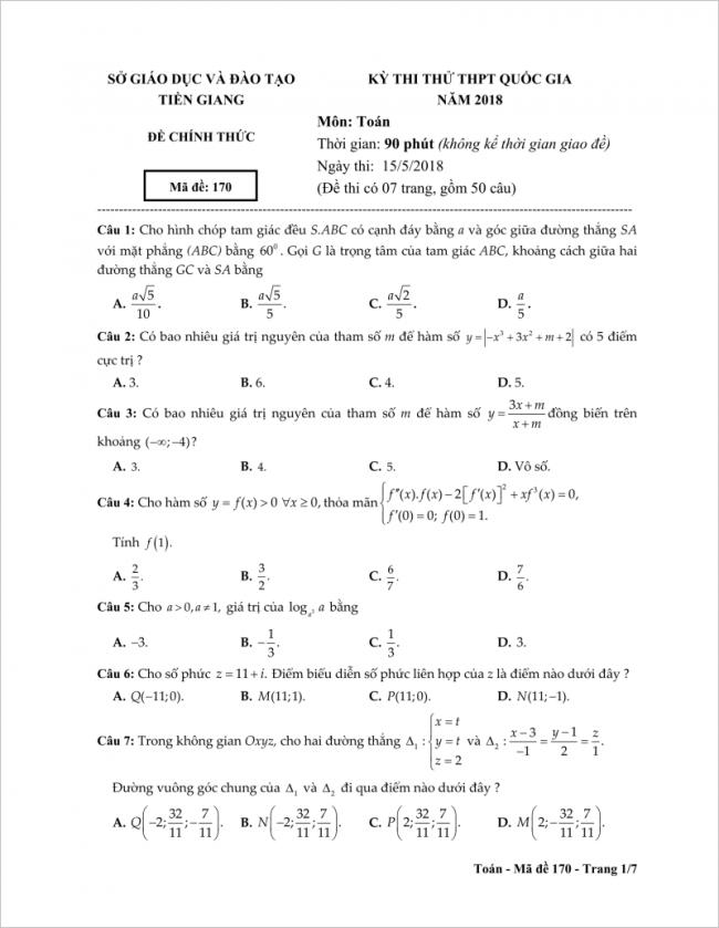 câu 1 đến 7 trang 1 đề toán thpt tỉnh tiền giang