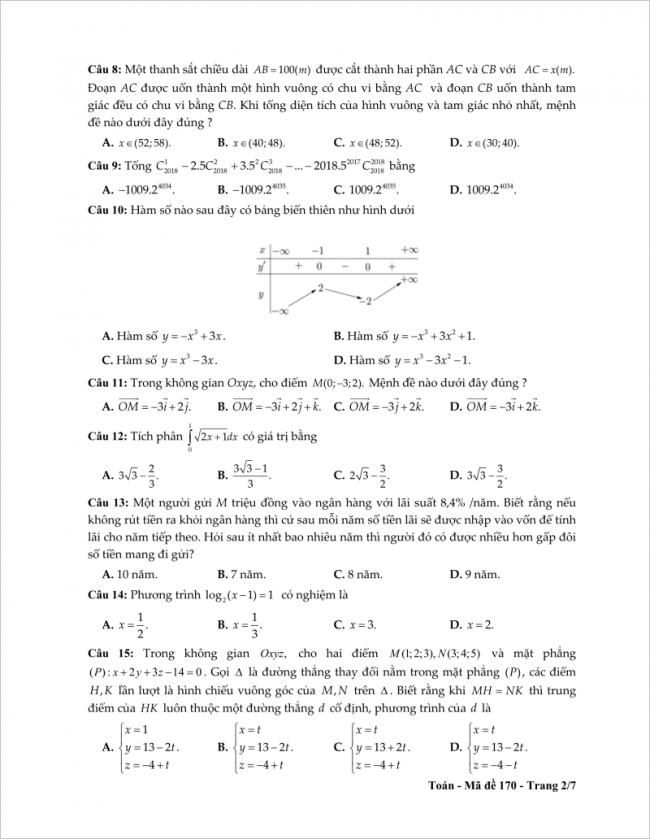 câu 8 đến 15 trang 2 đề toán thpt tỉnh tiền giang