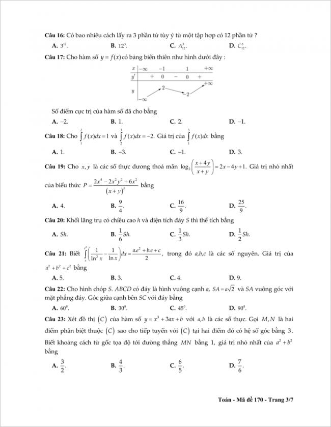 câu 16 đến 23 trang 3 đề toán thpt tỉnh tiền giang