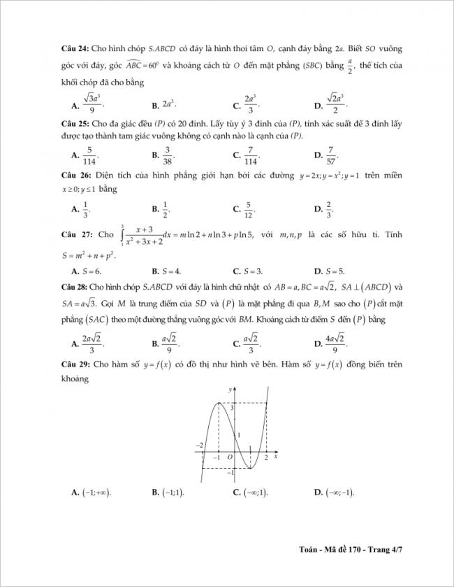 câu 24 đến 29 trang 4 đề toán thpt tỉnh tiền giang