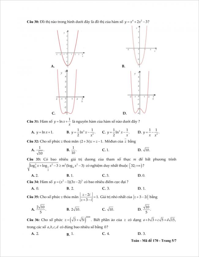 câu 30 đến 36 trang 5 đề toán thpt tỉnh tiền giang