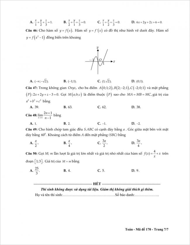 câu 46 đến 50 trang 6 đề toán thpt tỉnh tiền giang
