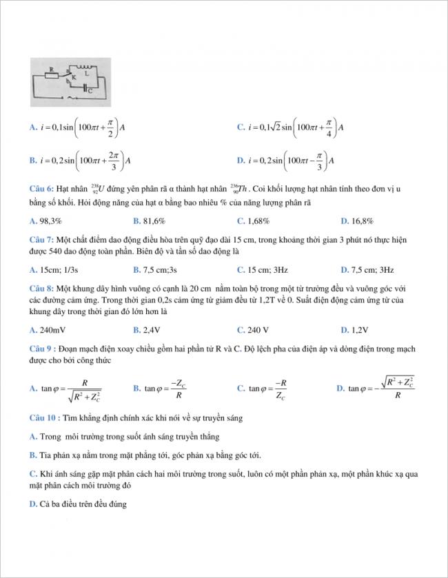 câu 6 đến 10 trang 2 đề vật lí thi thử thpt chuyên khtn hà nội