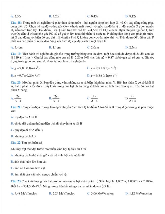 câu 18 đến 23 trang 4 đề vật lí thi thử thpt chuyên khtn hà nội