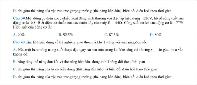câu 39 đến 40 trang 7 đề vật lí thi thử thpt chuyên khtn hà nội