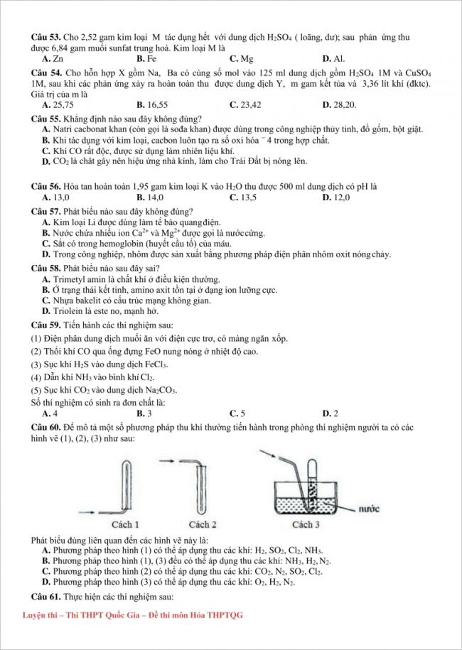 trang 2 từ câu 53 đến 61 đề hóa thi thử thpt chuyên đh vinh