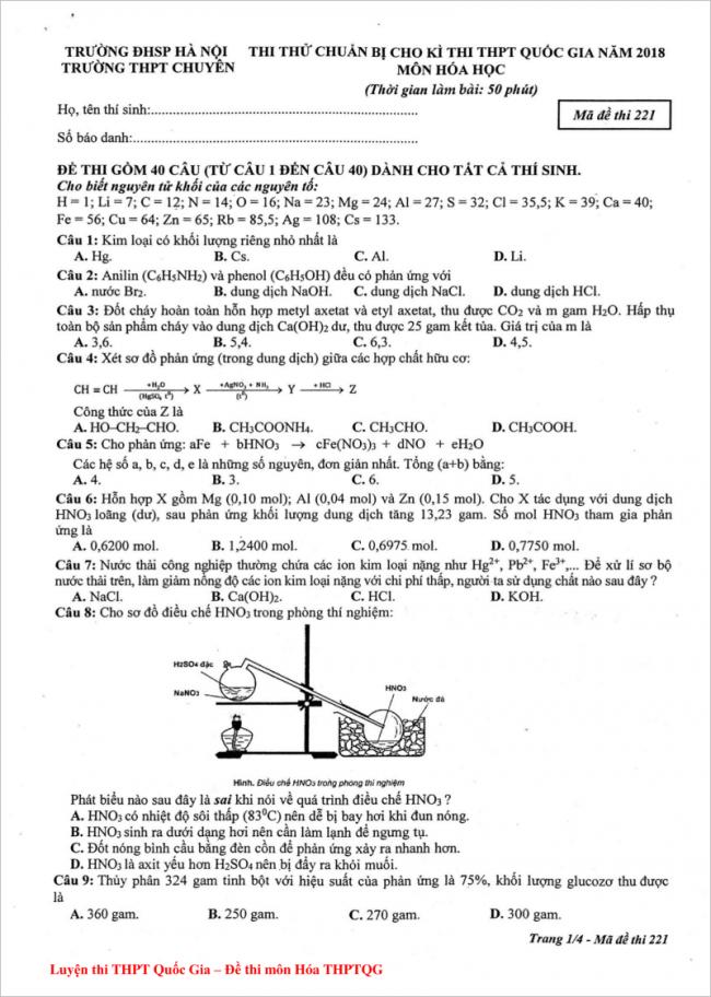 câu 1 đến 9 mã đề 221 môn hóa thpt chuyên ĐHSP HN