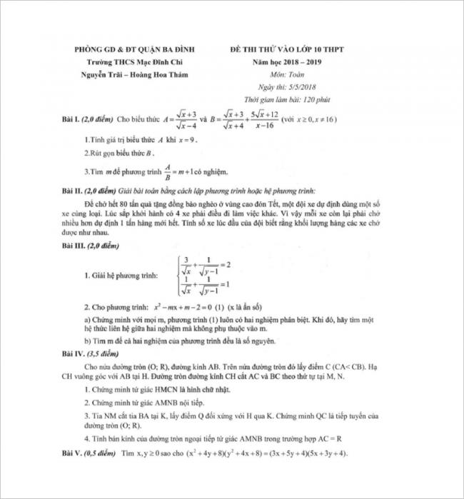 đề toán từ câu 1 đến 5 thcs mạc đĩnh chi, hà nội