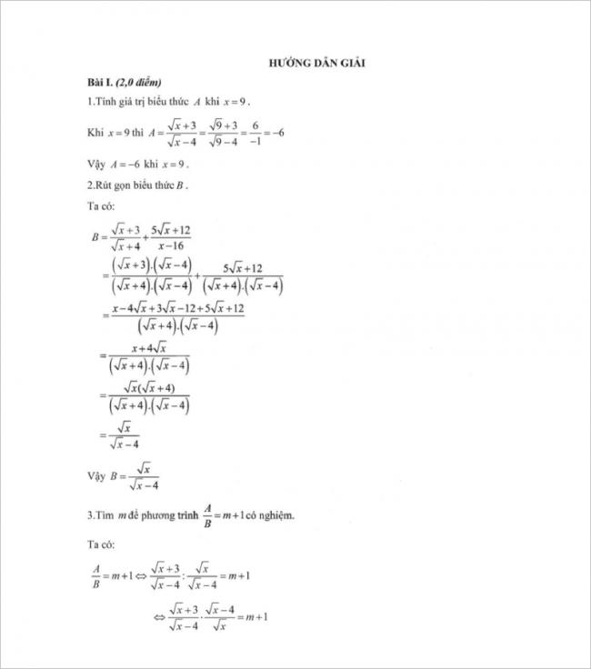 lời giải bài 1 đề toán thi thử vào lớp 10 thcs mạc đĩnh chi