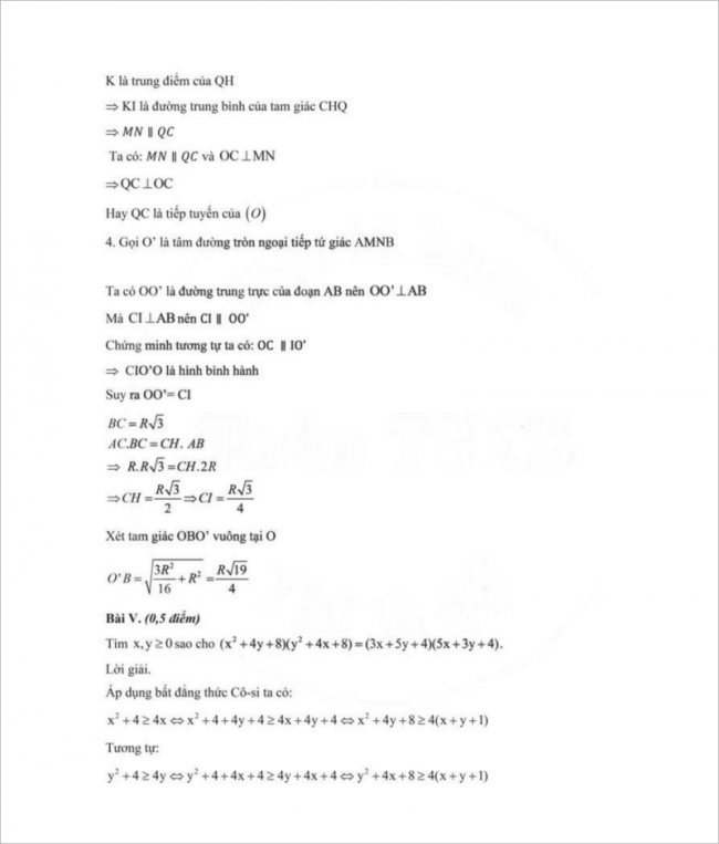 diễn đạt lời giải ý 4 bài 4 đề toán thcs mạc đĩnh chi, hn