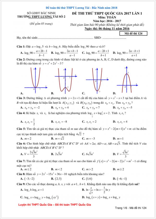 đề bài từ câu 1 đến 9 trang 1 đề toán thpt lương tài