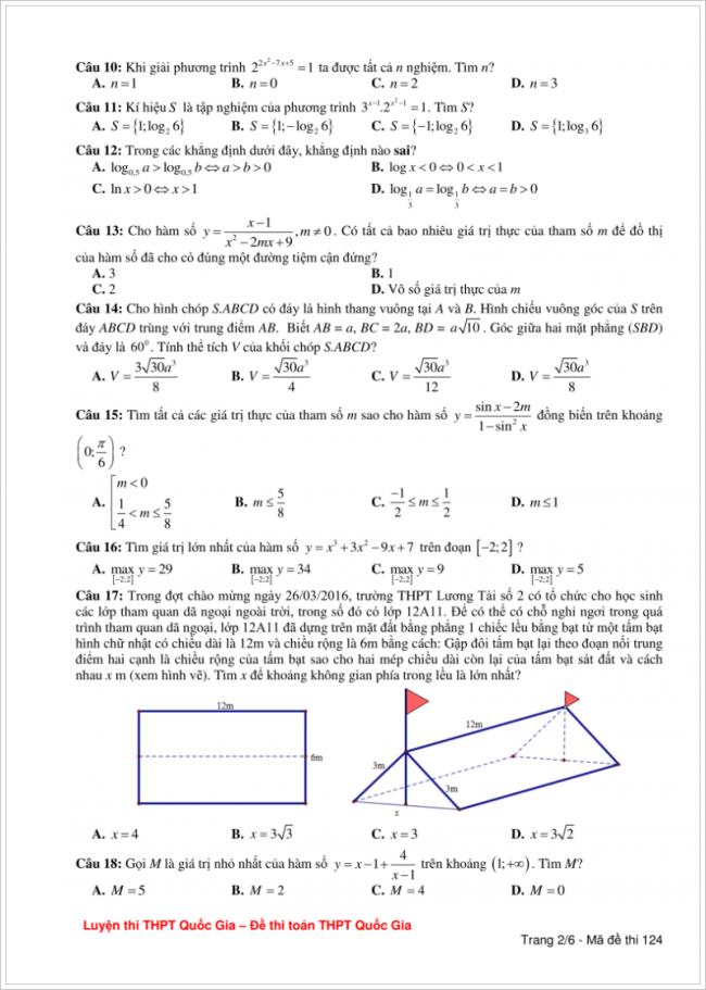 đề bài từ câu 10 đến 18 trang 2 đề toán thpt lương tài