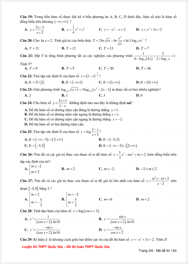đề bài từ câu 19 đến 29 trang 3 đề toán thpt lương tài