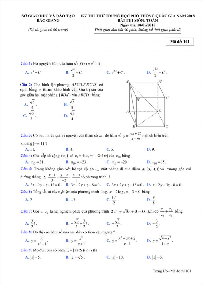 đề bài câu 1 đến 9 trang 1 môn toán thpt tỉnh bắc giang