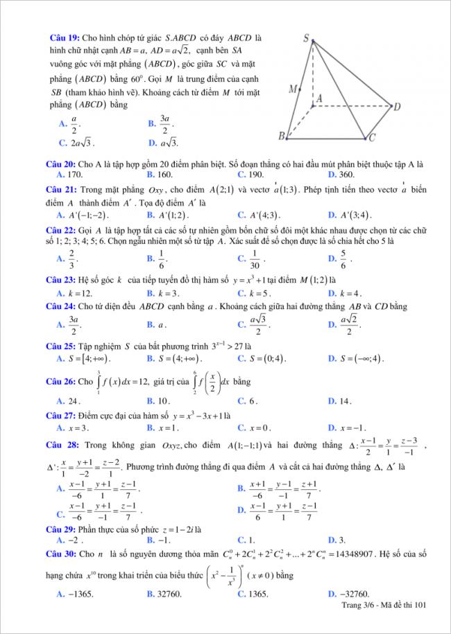 đề bài câu 19 đến 30 trang 3 môn toán thpt tỉnh bắc giang