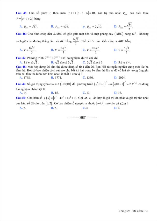 đề bài câu 45 đến 50 trang 6 môn toán thpt tỉnh bắc giang