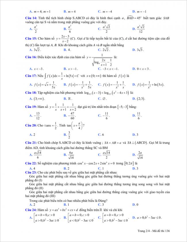 trang 2 câu 14 đến 24 đề toán thpt hải hậu a