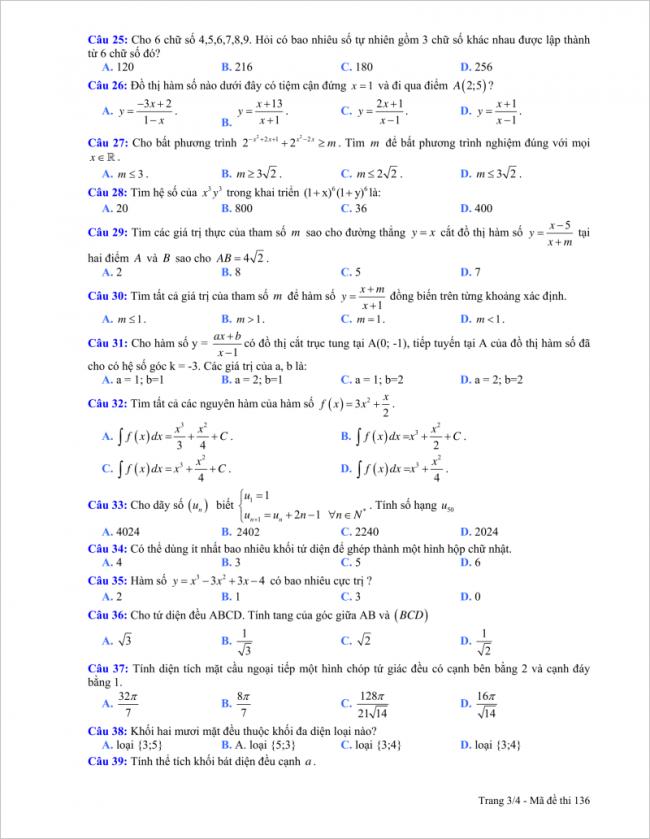 trang 3 câu 25 đến 39 đề toán thpt hải hậu a