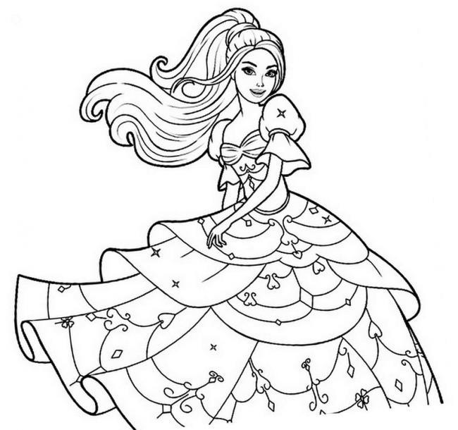 Tô màu công chúa Barbie mặc váy tầng