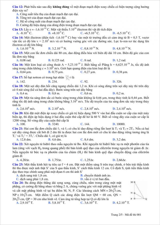 câu 12 đến 24 trang 2 đề vật lý thpt tỉnh quảng bình