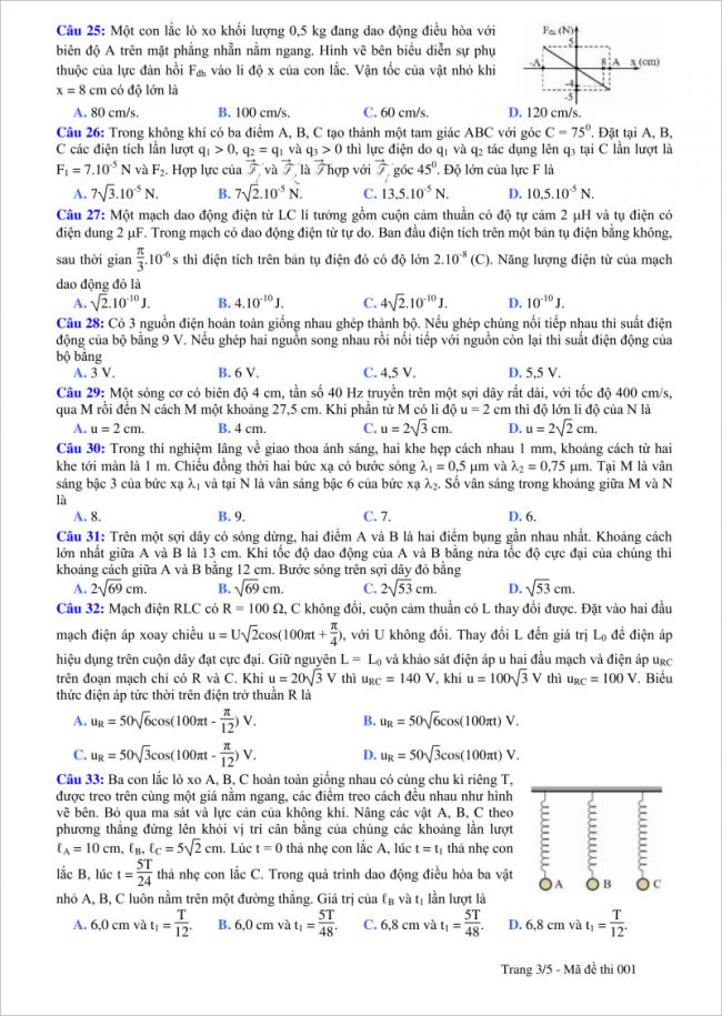 câu 25 đến 33 trang 3 đề thi vật lý thpt tỉnh quảng bình