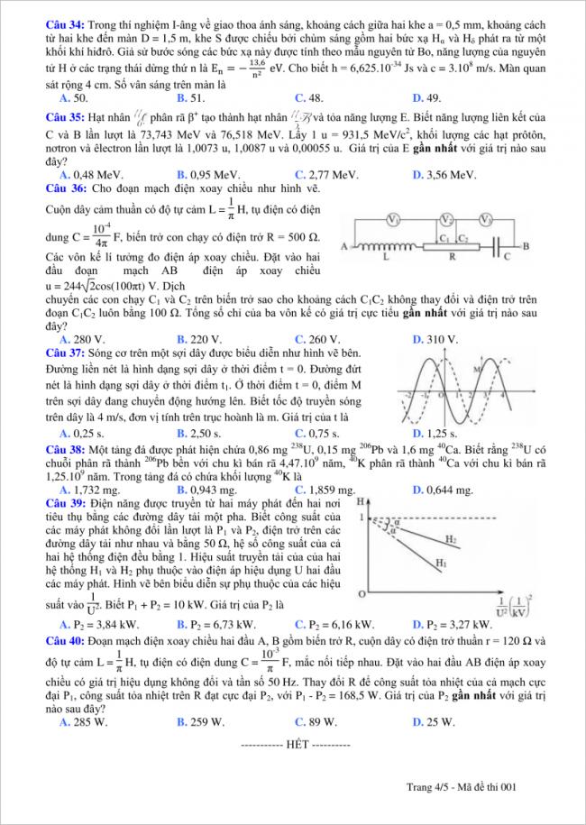 câu 34 đến 40 trang 4 đề thi vật lý thpt tỉnh quảng bình
