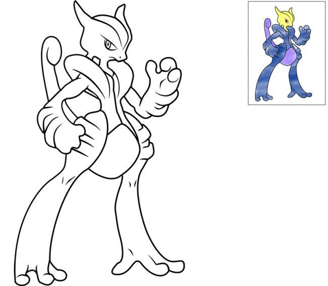 tranh tô màu pokemon huyền thoại Pokemon huyền thoại Mewtwo