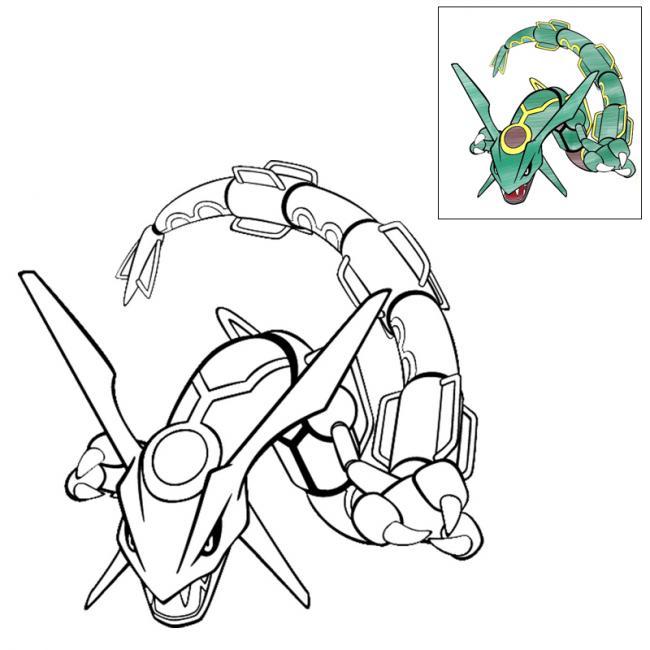 tranh tô màu pokemon huyền thoại Rayquaza có hướng dẫn