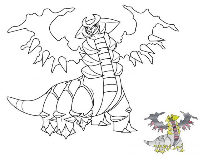Tranh tô màu pokemon huyền thoại Giratina