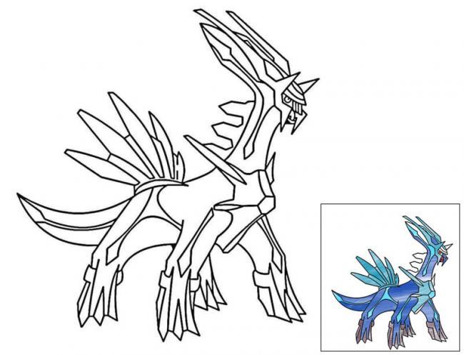 tranh tô màu pokemon huyền thoại Dialga