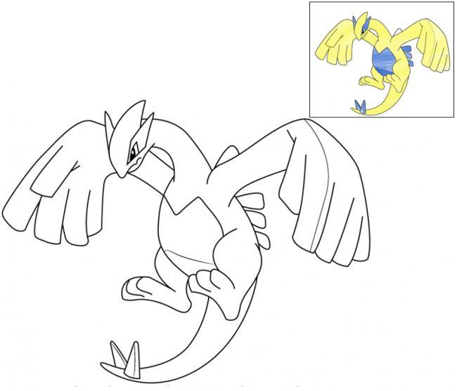 tranh tô màu pokemon huyền thoại Lugia huyền thoại