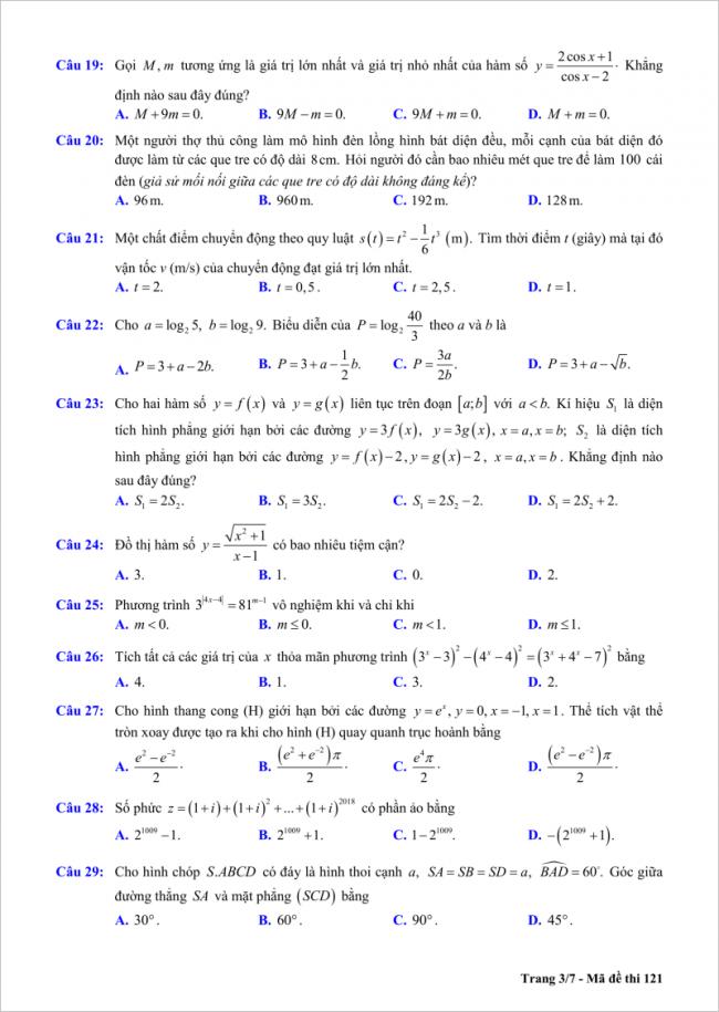 trang 3/7 câu 19 đến 29 đề toán thi thử thpt chu văn an