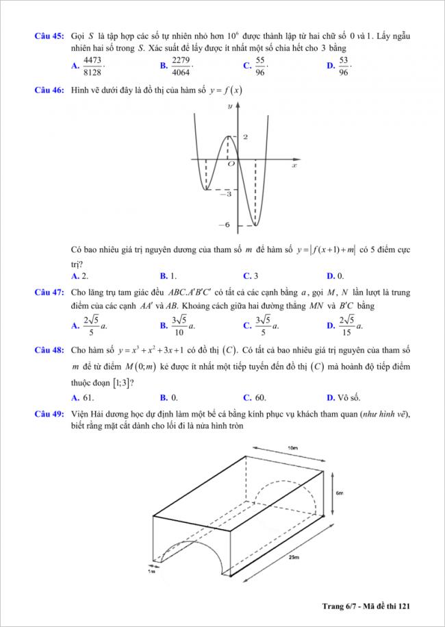 trang 6/7 câu 45 đến 49 đề toán thi thử thpt chu văn an