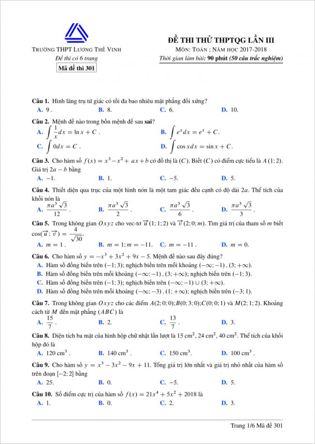 câu 1 - 10 trang 1 mã đề 301 môn toán thpt lương thế vinh