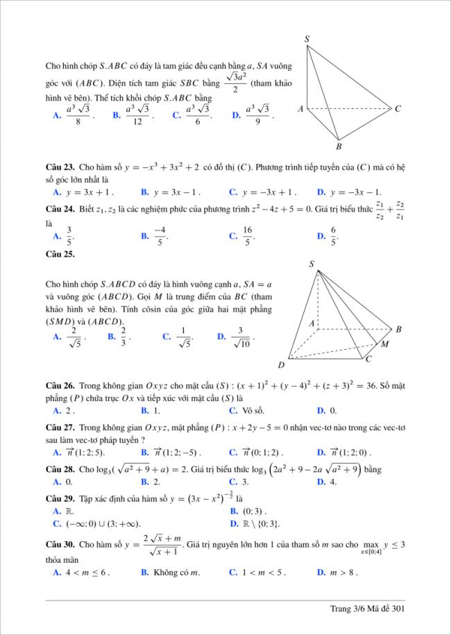 câu 23 - 30 trang 3 mã đề 301 môn toán thpt lương thế vinh