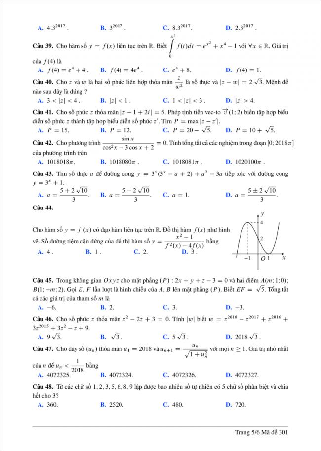 câu 39 - 48 trang 5 mã đề 301 môn toán thpt lương thế vinh
