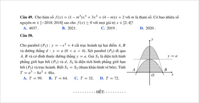 câu 49 - 50 trang 6 mã đề 301 môn toán thpt lương thế vinh