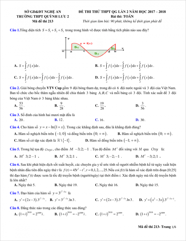 trang 1 từ câu 1 đến 8 đề toán thpt quỳnh lưu 2