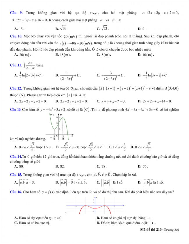 trang 2 từ câu 9 đến 16 đề toán thpt quỳnh lưu 2