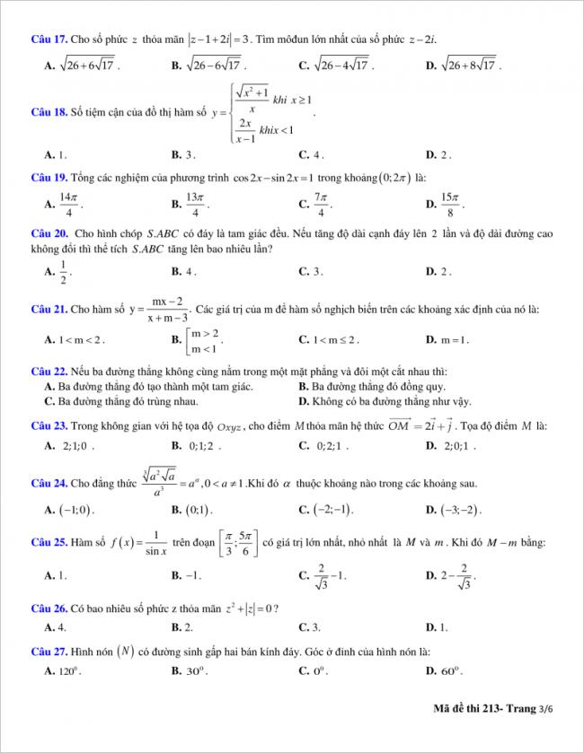 trang 3 từ câu 17 đến 27 đề toán thpt quỳnh lưu 2