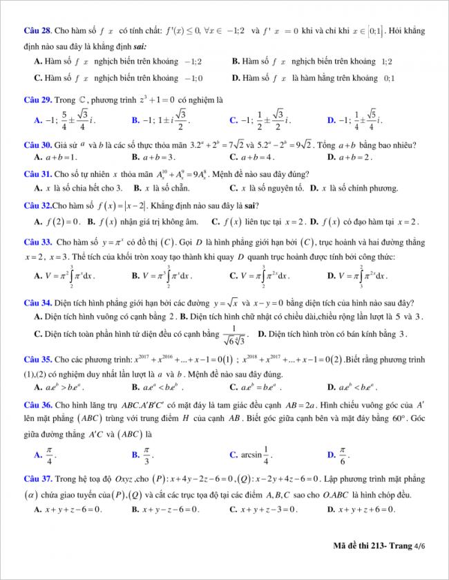 trang 4 từ câu 28 đến 37 đề toán thpt quỳnh lưu 2