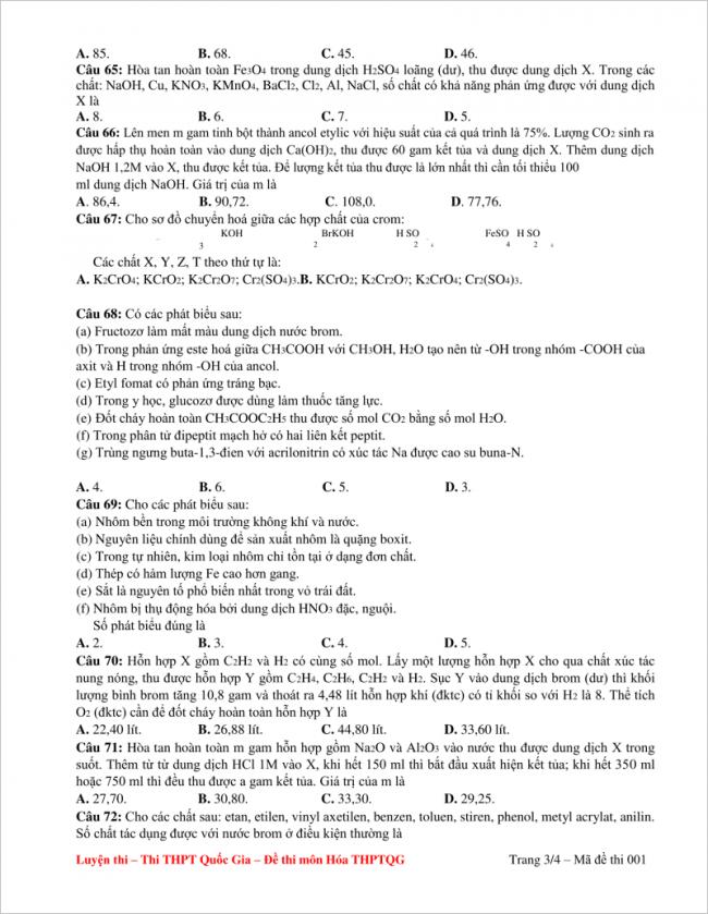câu 65 - 72 trang 3 đề hóa thpt tỉnh quảng bình