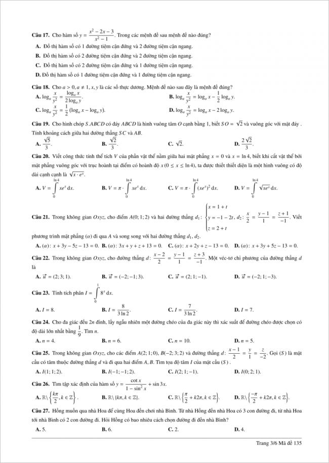câu 17 đến 27 trang 3 đề toán thpt lê hồng phong