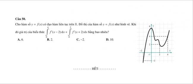 câu 50 trang 6 đề toán thpt lê hồng phong